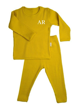 Mustard personalised luxury ribbed lounge wear