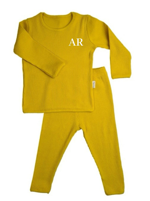 Mustard embroidered personalised luxury ribbed lounge wear