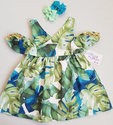 Summer Print Cold Shoulder Dress