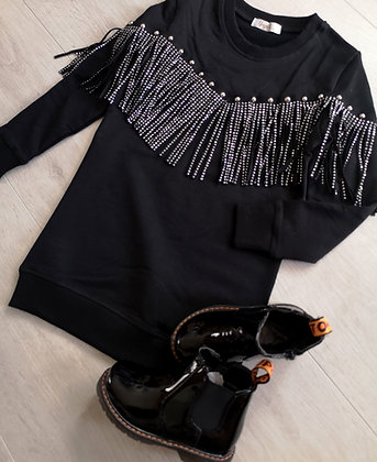 Black Glitter Tassel Jumper Dress