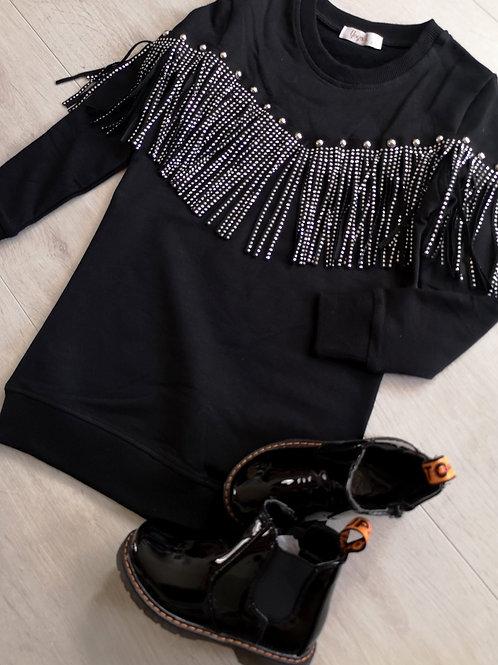 Black Glitter Tassel Jumper Dress