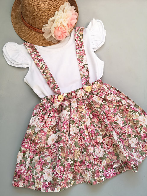 Floral Pinafore Skirt & top