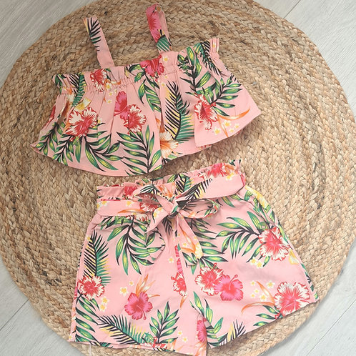 Tropical print crop and shorts