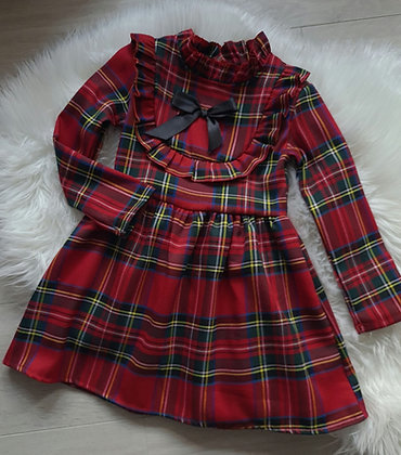 Long sleeve tartan ruffle dress