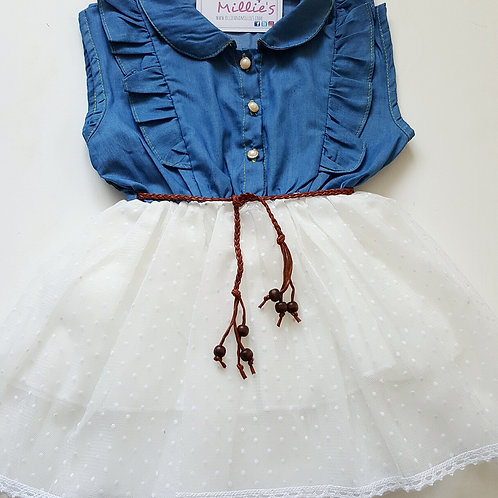 NEW! Denim Ruffle Dress White OR Pink