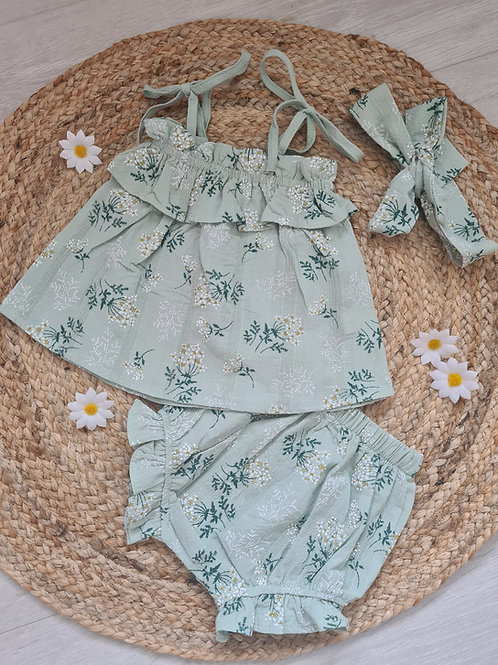 Floral smock top and shorts set