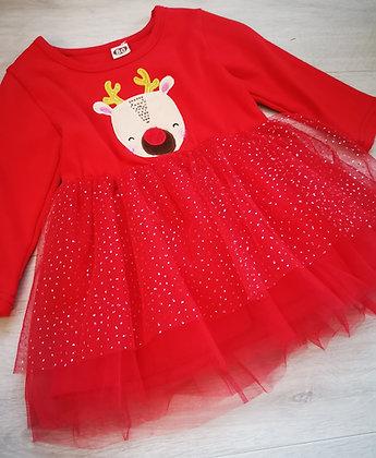 Red Glitter Reindeer Dress