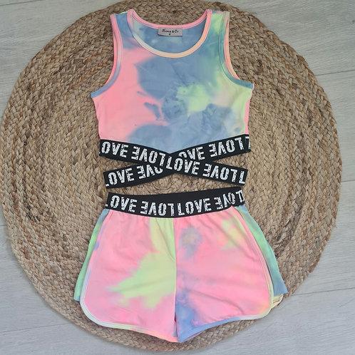 Tie Dye 'love' crop & shorts