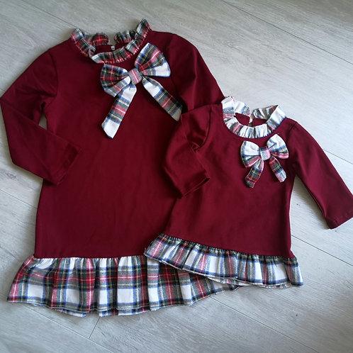 Burgundy tartan bow dress