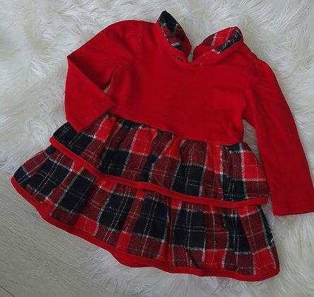Red Tartan Ruffle Dress
