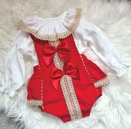 Red & Gold Spanish Romper