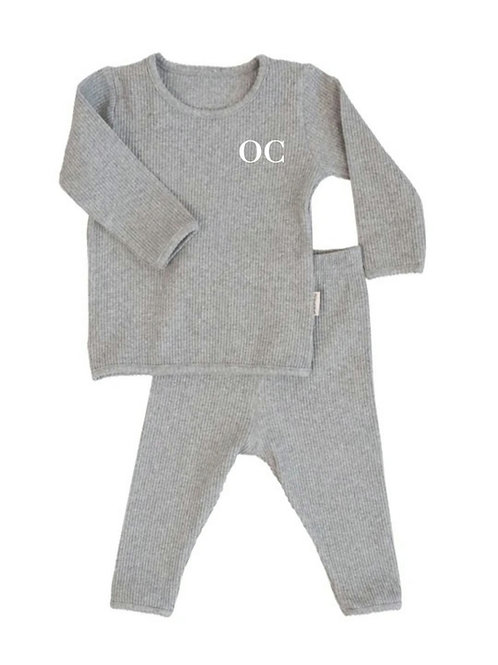 Grey embroidered personalised luxury ribbed lounge wear