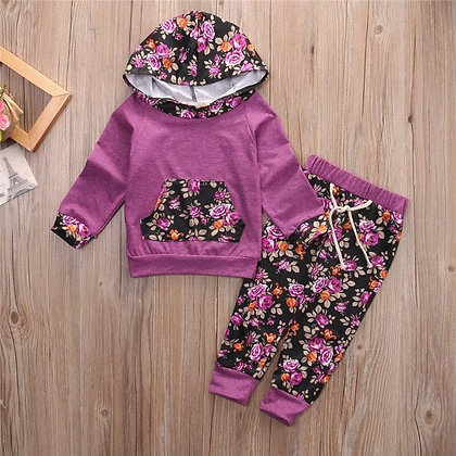 Baby Girls Purple Floral Tracksuit