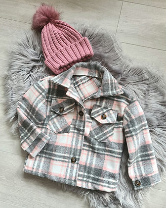 Grey and Pink Checked Shacket