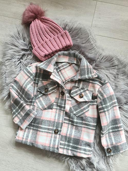 Grey and Pink Checked Shacket
