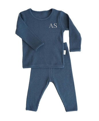Mignight blue personalised luxury ribbed lounge wear