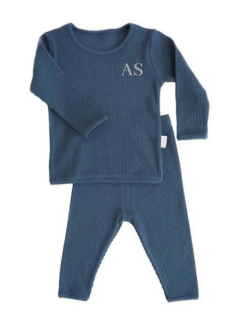 Mignight blue embroidered personalised luxury ribbed lounge wear