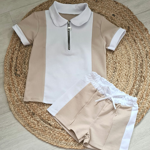 Tan and white colour block summer set