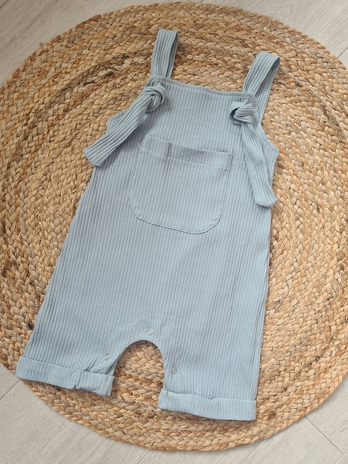 Blue ribbed dungarees