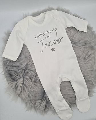 Hello World Personalised Sleepsuit