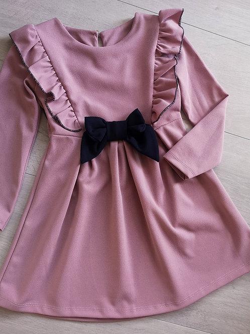 Dusky Pink & Navy Bow Dress