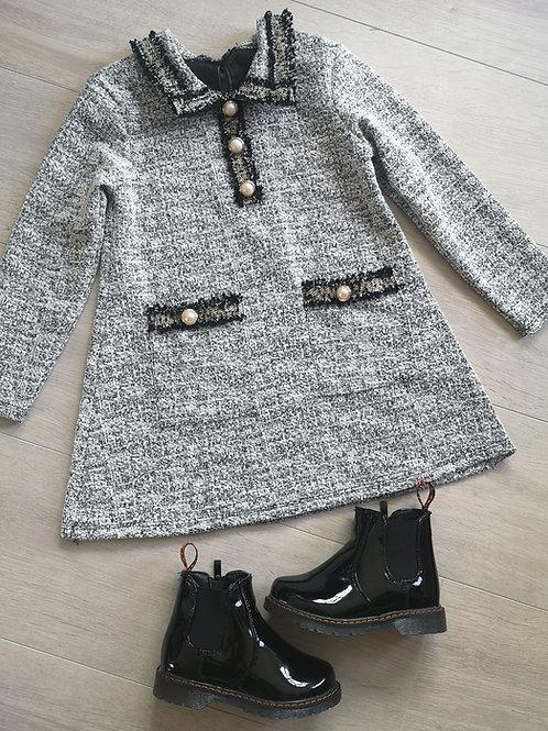 Grey & Black Collar Dress