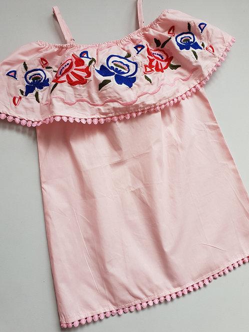 Pink Embroidered Cold Shoulder Dress