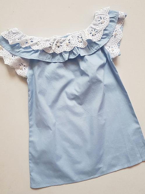 Blue & White Off Shoulder Dress