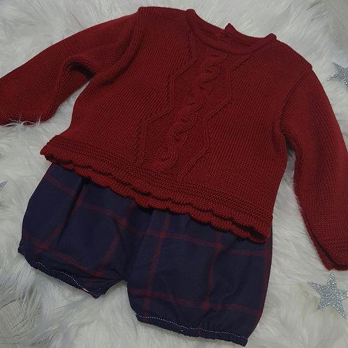 Red knitted jumper & navy tartan shorts