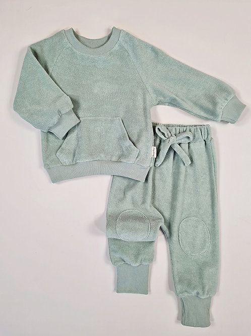 Sage Towelling Loungewear (embroidered)