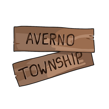 A wooden sign, made of two strips of wood, the bottom one tilted down on the left. The top says Averno and the bottom strip says Township.