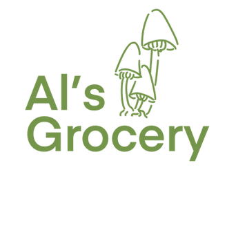 The words Al's Grocery are written in green next to three mushrooms outlined in green. The background is black.