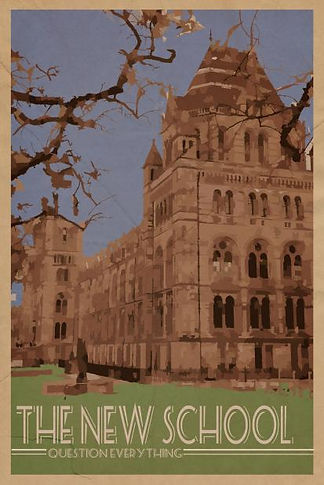 A poster for the New School, with a beautiful old building and a tree's branches peeking in the side. The bottom, over the grass, reads The New School Question Everything.
