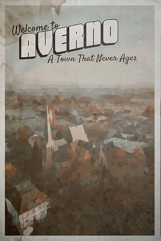 An Averno poster. It looks much like a watercolor postcard. It reads Welcome to Averno A Town That Never Ages.