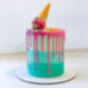 Ombre Ice Cream Drip Cake