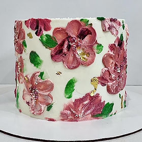 handpainted flower cake