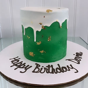 Green drip cake with gold leaf