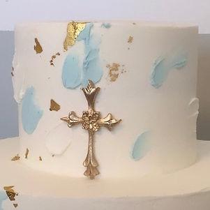 Blue/white religious splatter cake