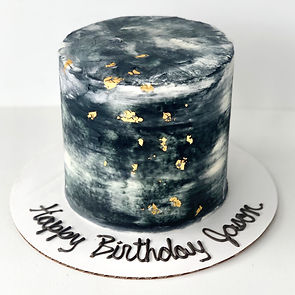 Black Marble Cake with Edible Gold