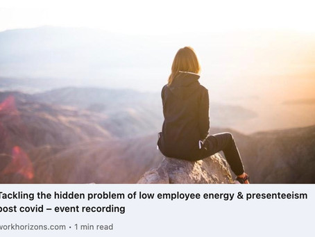 Tackling low employee energy & presenteeism post COVID