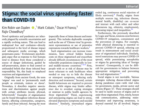 Our new publication 'Stigma: The social virus spreading faster than COVID-19'