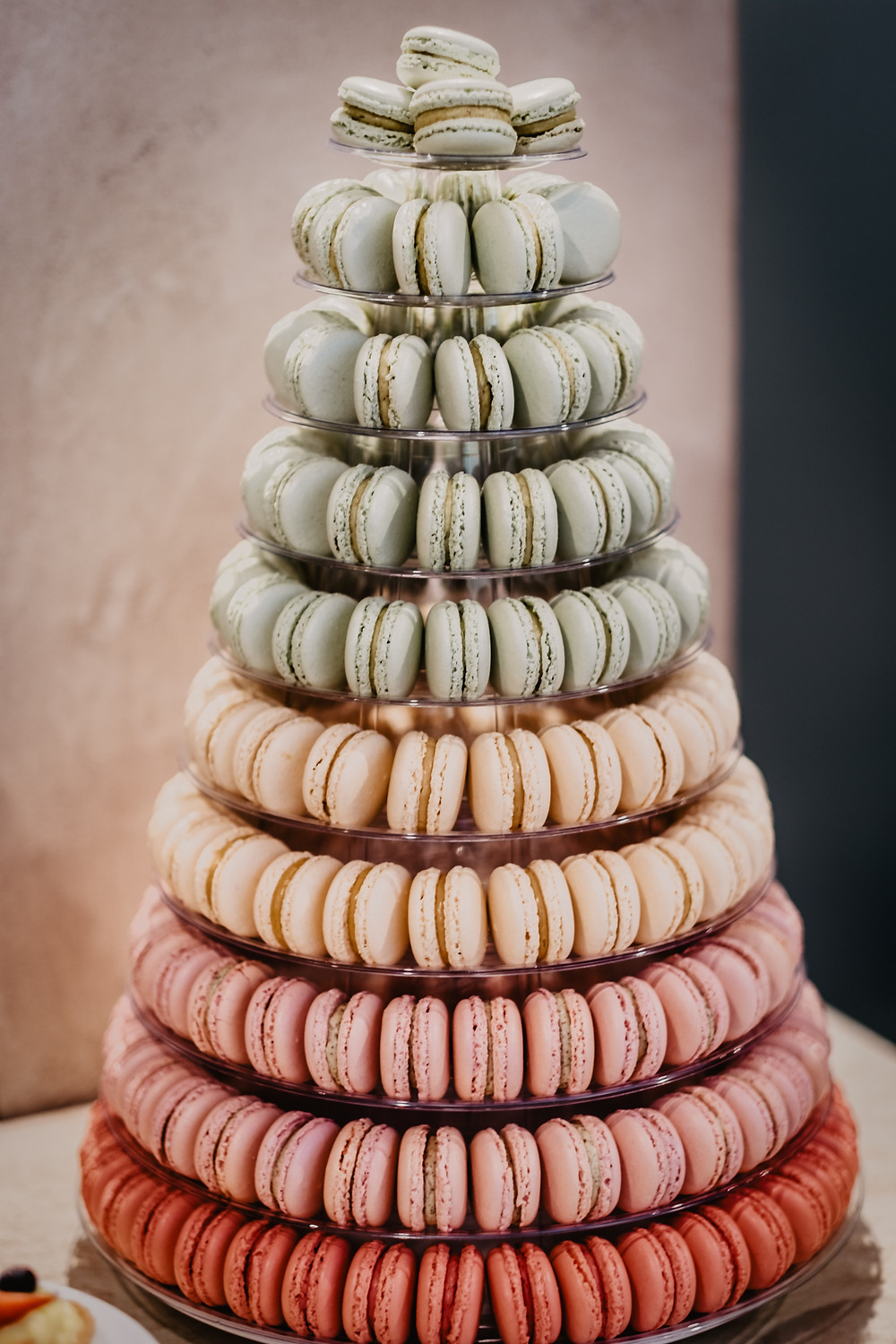 A-multi-coloured-tower-of-Macarons