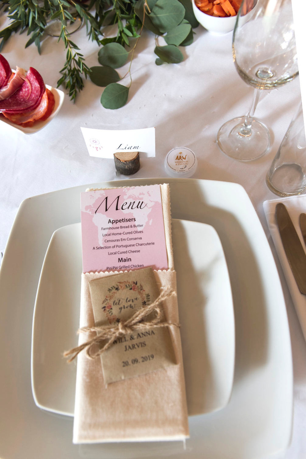 Wedding table with menu card and glass wear