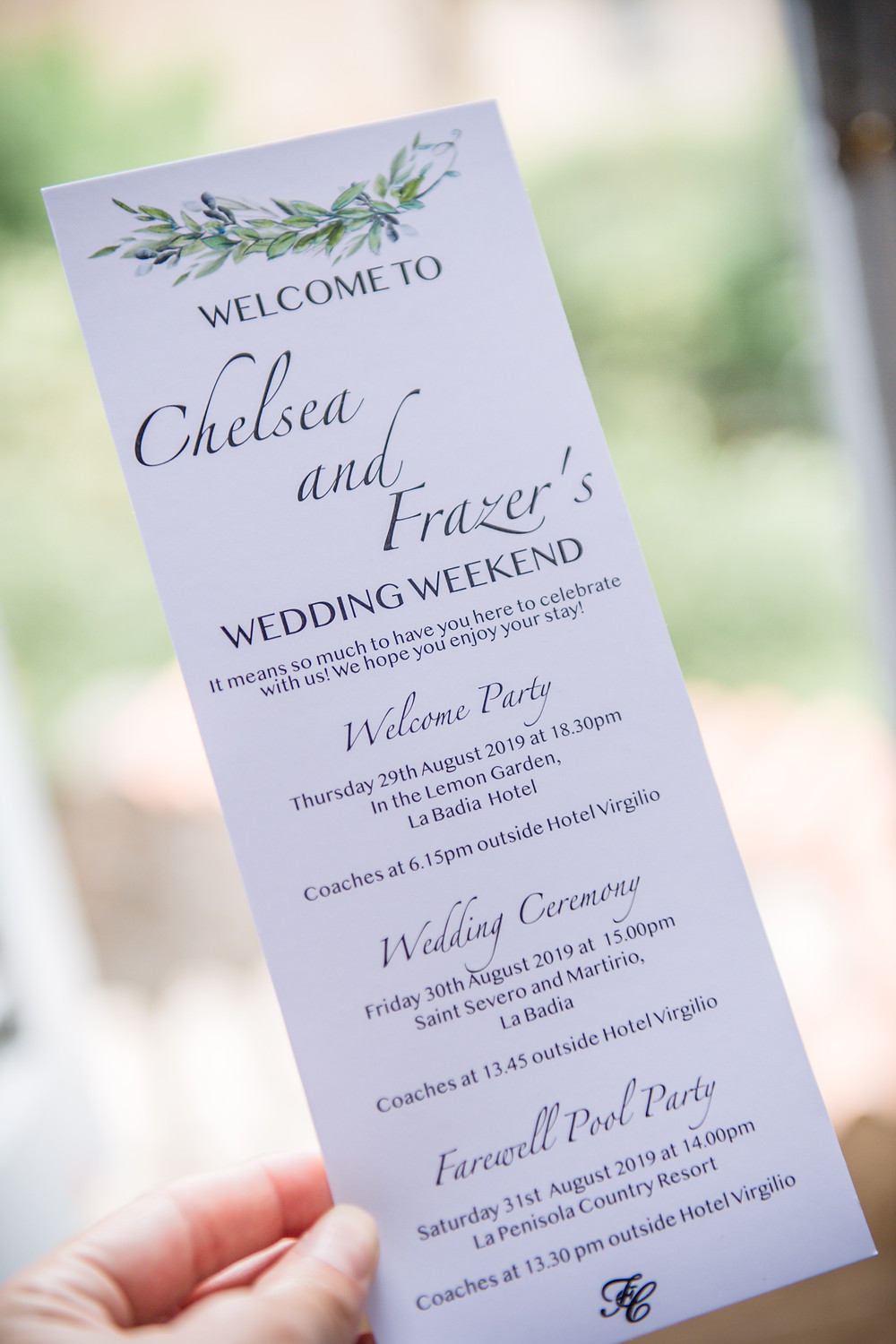 Wedding welcome card, detailing the wedding weekend plans to the guests
