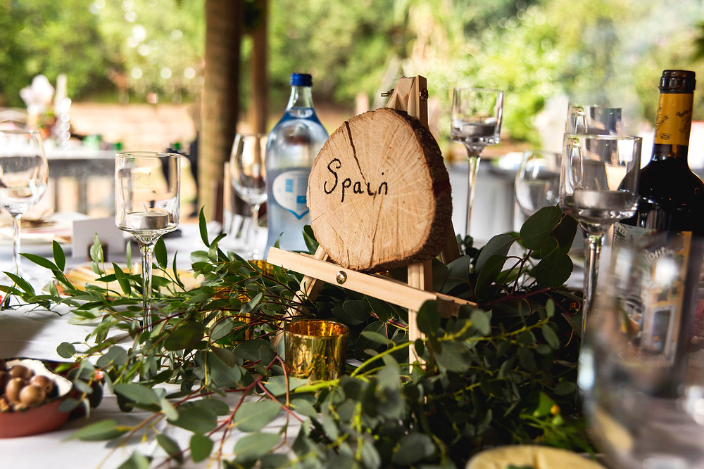 Wedding table set up in a boho theme
