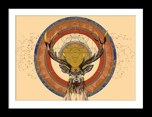 Sacred Stag Mandala Print