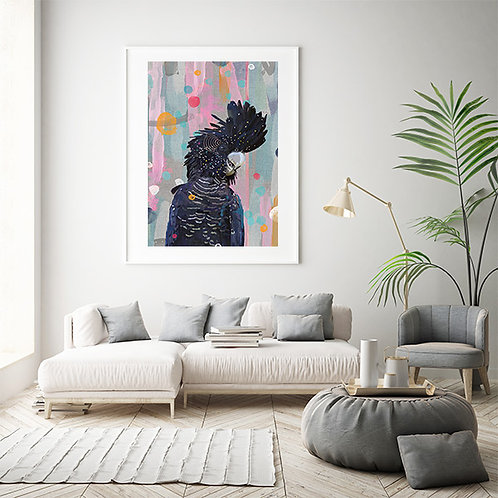 Glossy Black Cockatoo Print on Abstract Background