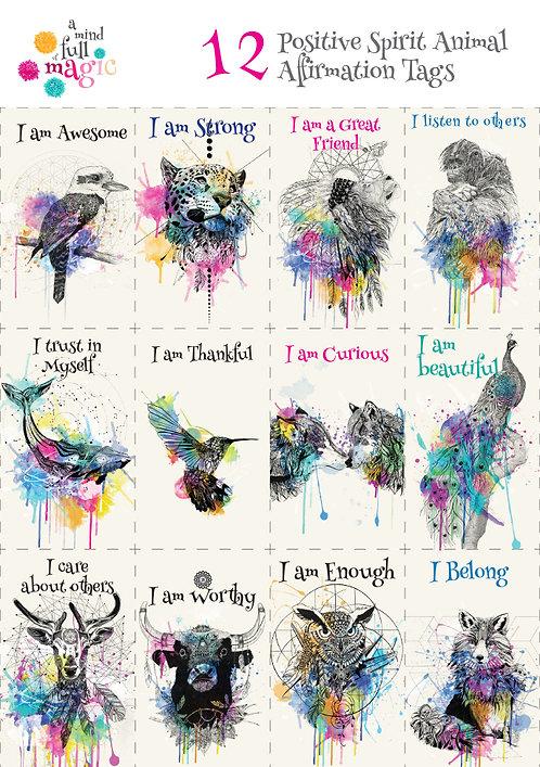 12 x Spirit Animal Affirmation Tags