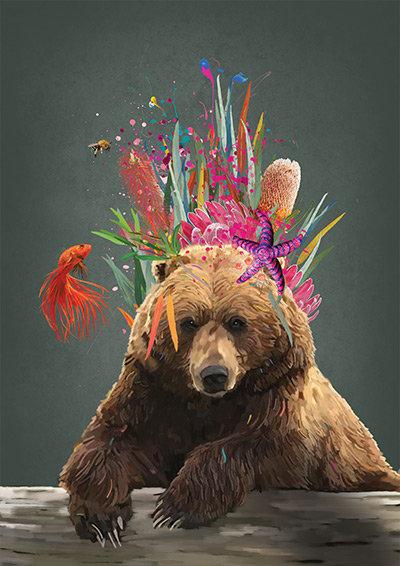 Regal Bear Print