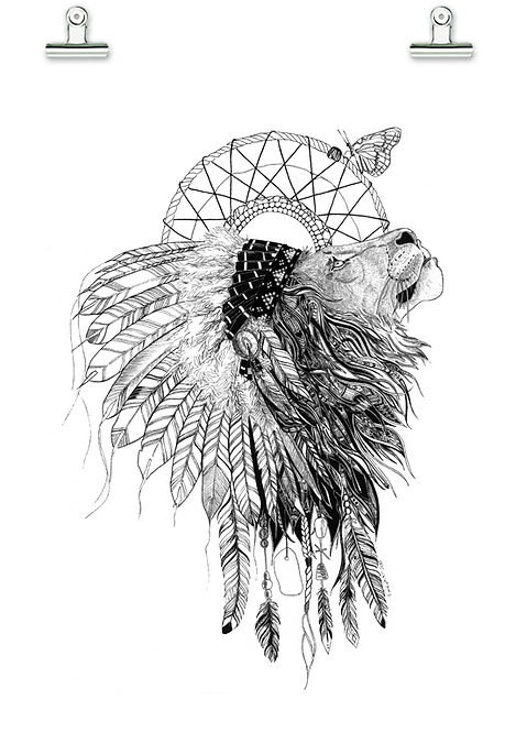 Soul Mates Tribal lion and Butterfly